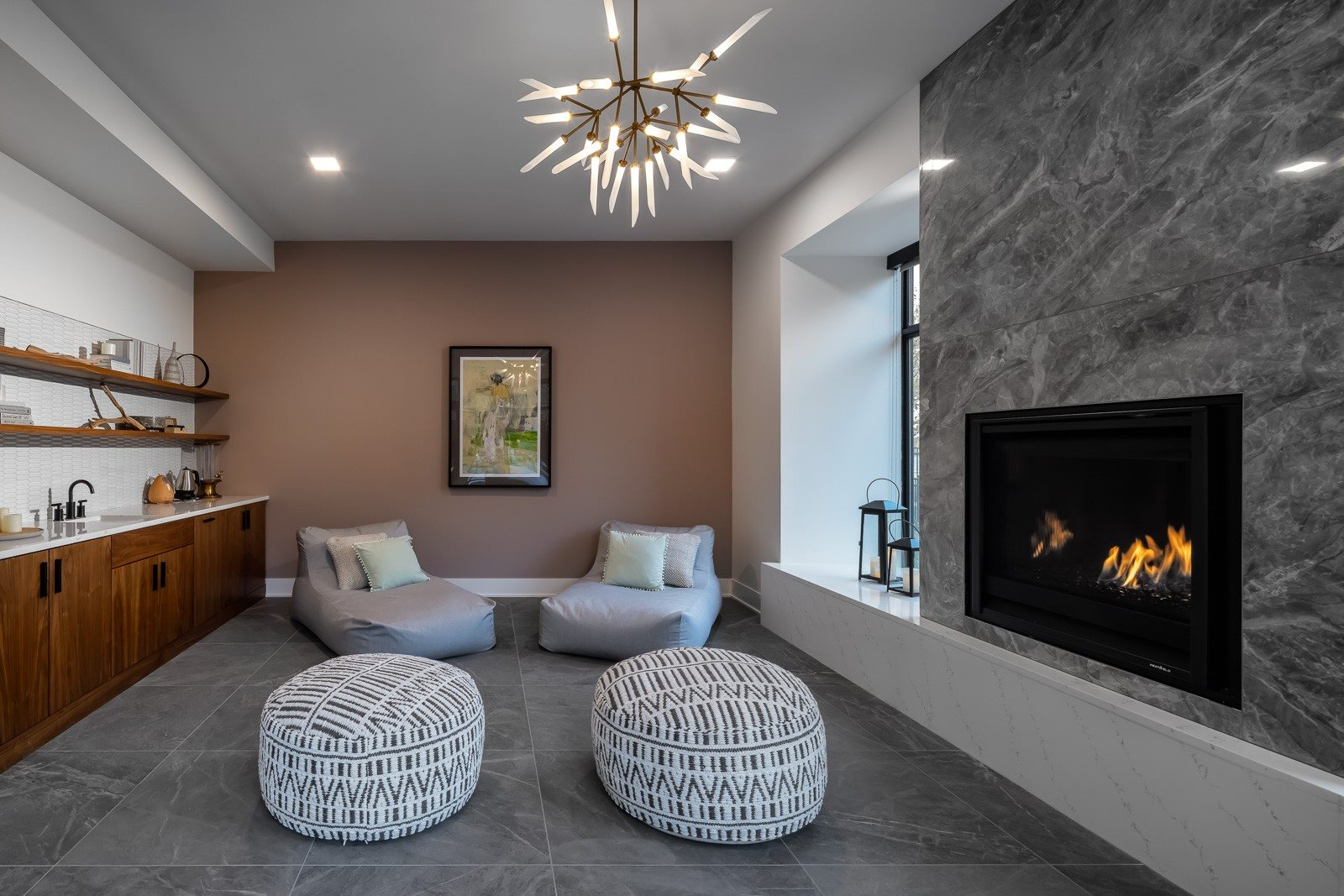 Spa lounge with essential oil diffuser and tea kettle