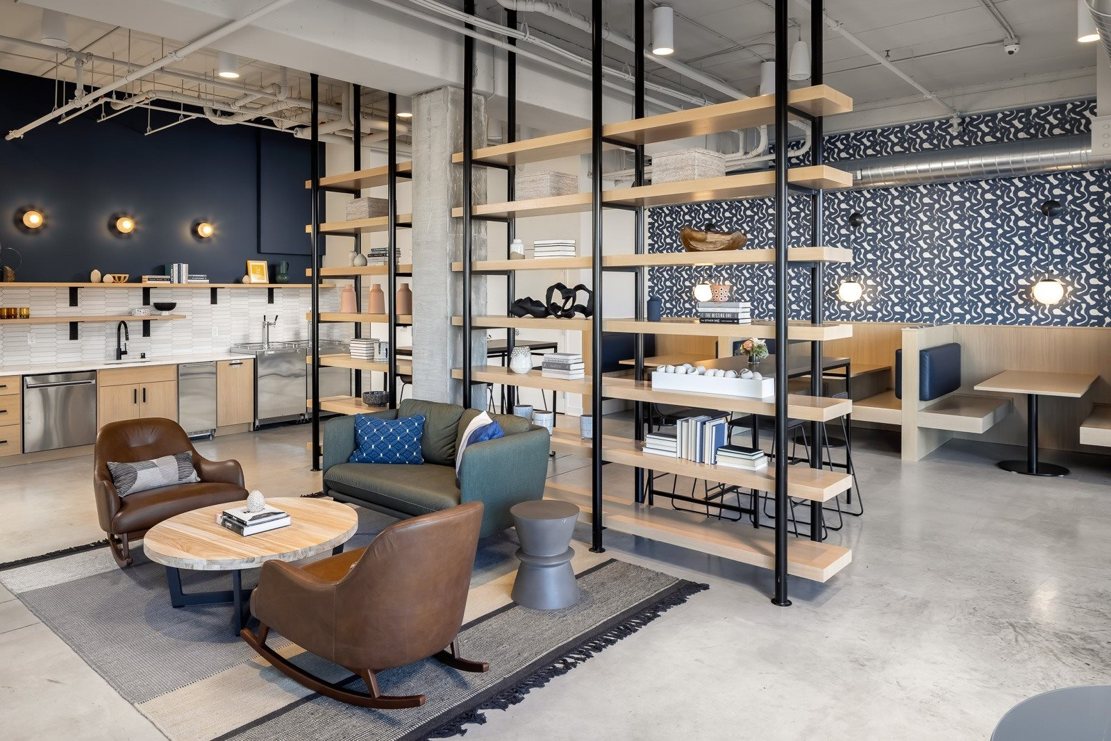 Social lobby with work from home seating and rotating taps