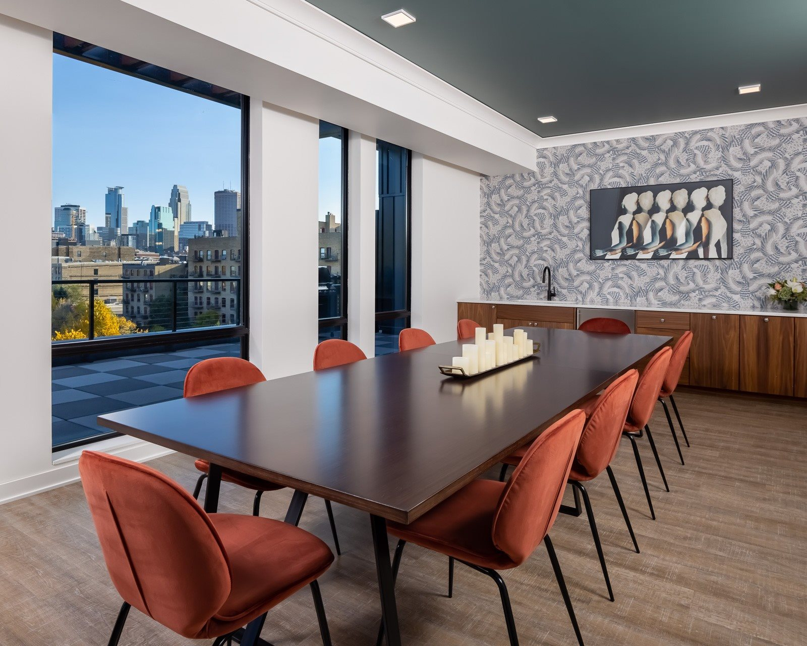 Private dining room overlooking downtown Minneapolis