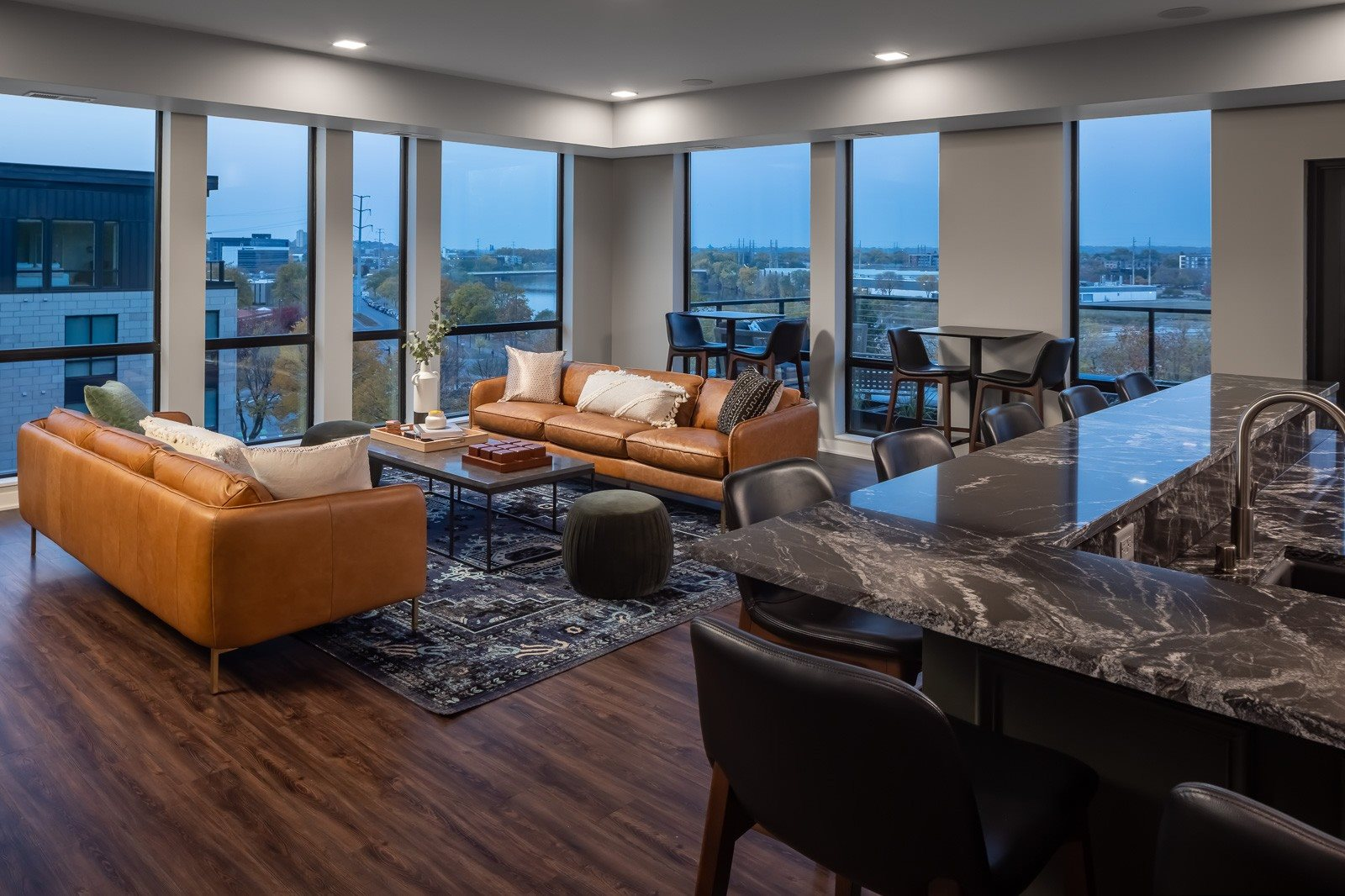 Rooftop Lounge overlooking Mississippi River in the evening
