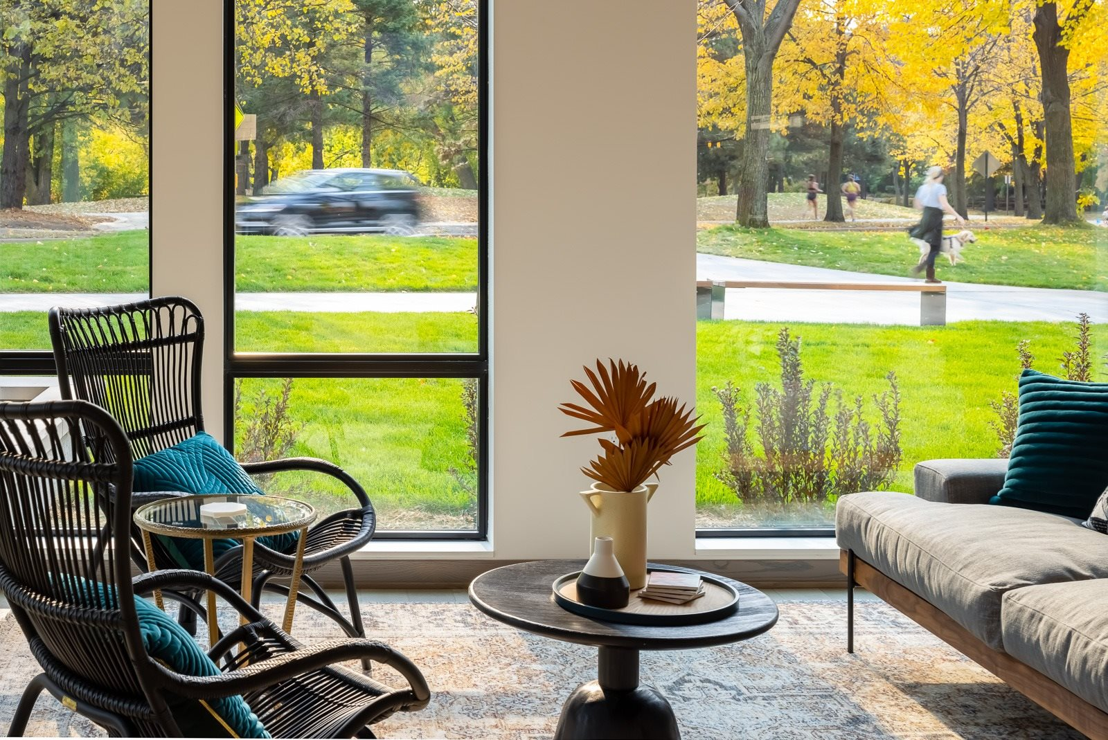 Clubroom seating overlooking lanscaping and west river parkway