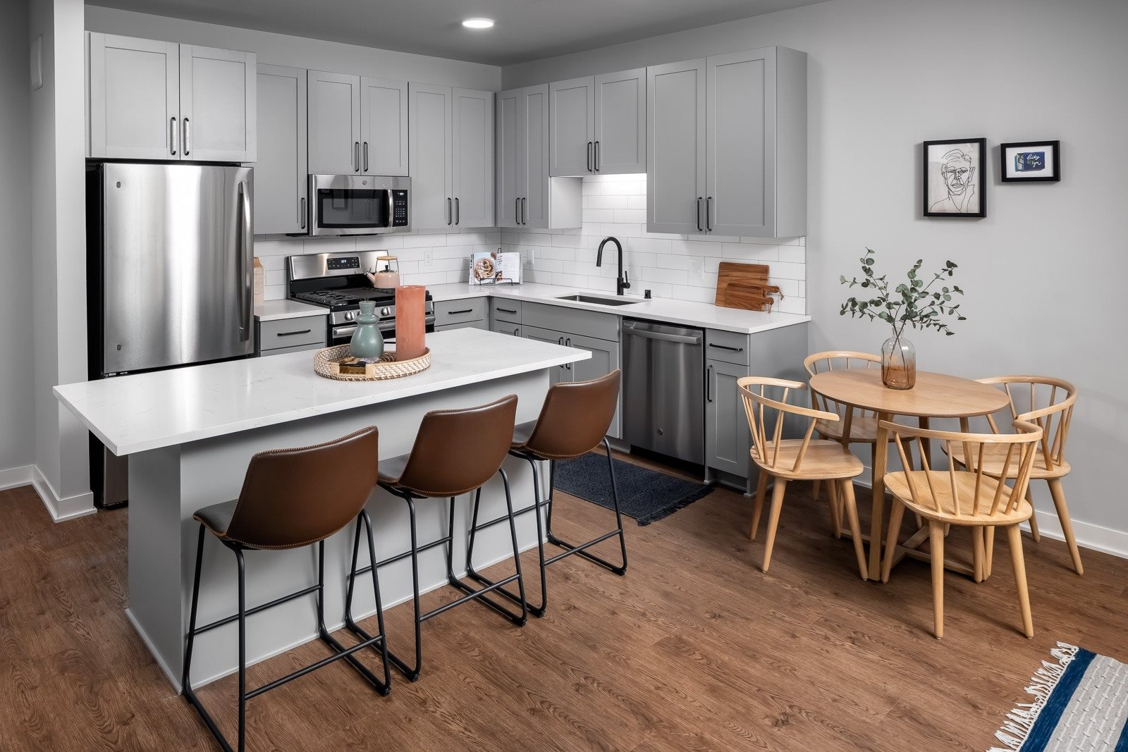 One bedroom apartment kitchen with stainless steel appliances