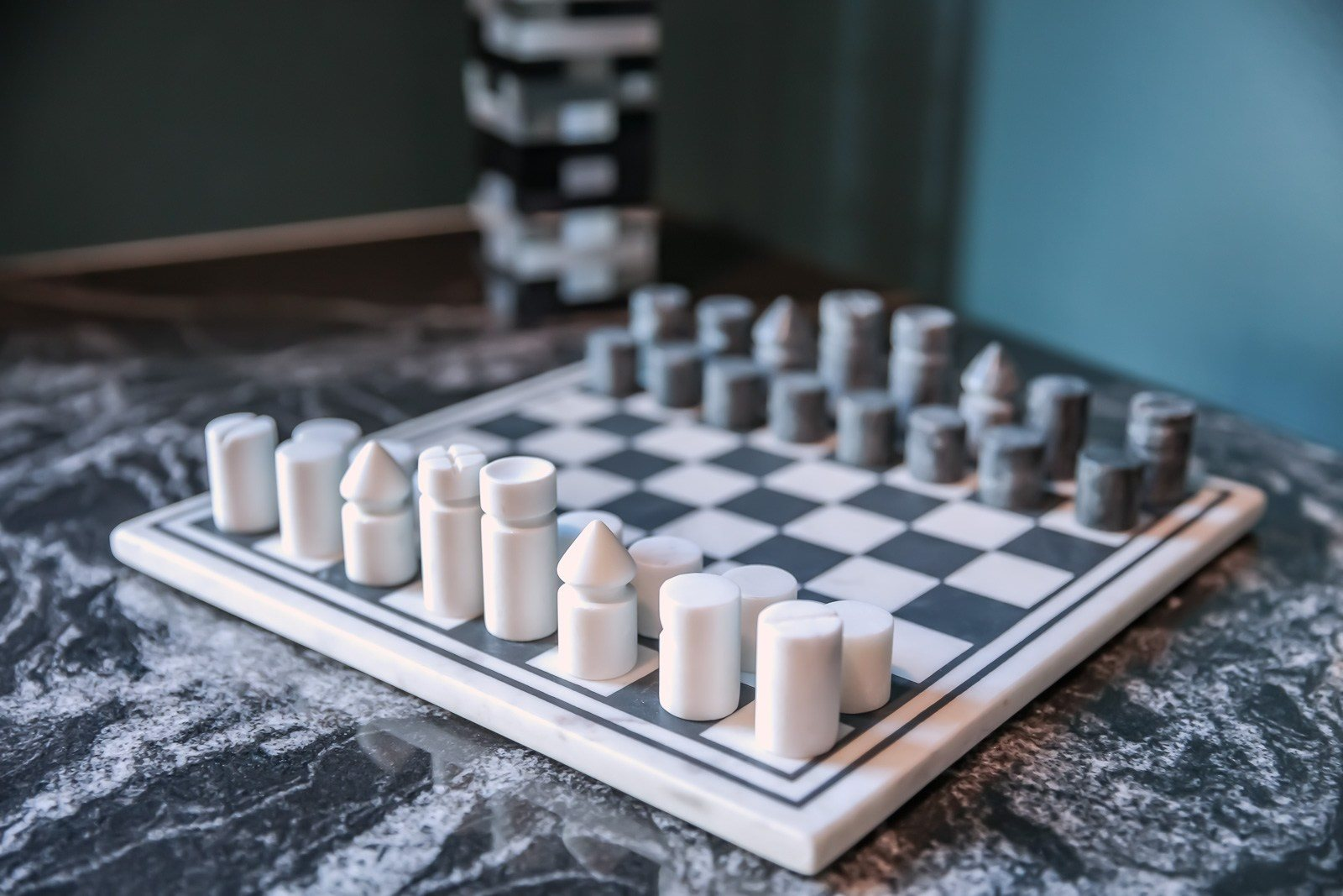 Marble chess board in rooftop lounge at Vesi apartments