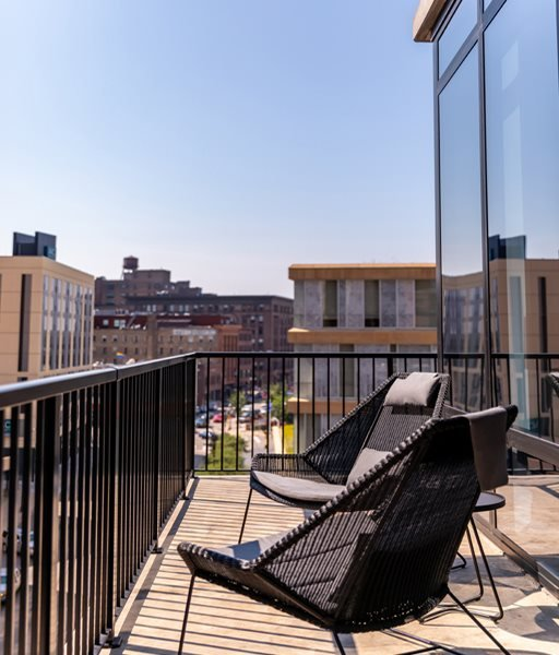365 Nicollet Apartment Balcony with city background