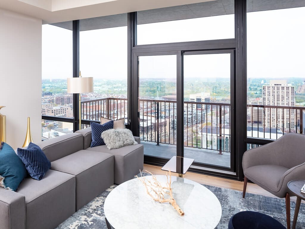 365 Nicollet Furnished Apartment Living Room & Balcony