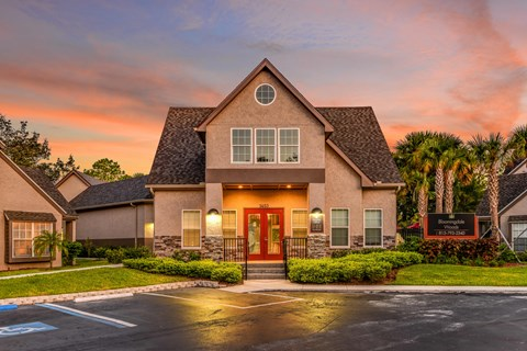 Bloomingdale Woods Apartments Valrico Florida Clubhouse Exterior with Gorgeous Sunset in background Sunset