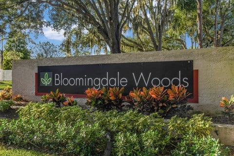 Bloomingdale Woods Apartments Valrico Florida Entrance Sign with Beautiful flowers and shrubs framing the sign