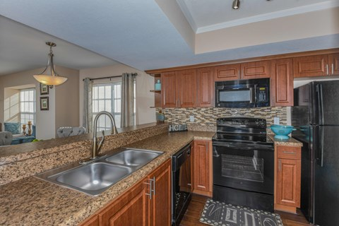 Bloomingdale Woods Apartments Valrico Florida Model Apartment Kitchen with Double Sink, Black Appliances, decorative lighting fixtures