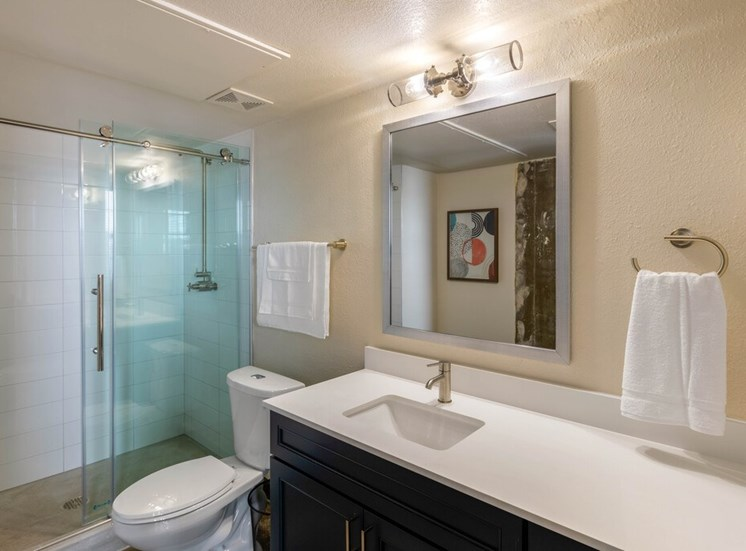 Bathroom with Glass Enclosed Walk In Shower, Towels Hanging, Grey Counters and Dark Cabinets