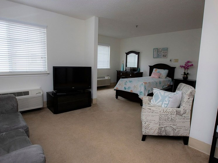 Bedroom With TV at Savannah Court of Maitland, Maitland, FL