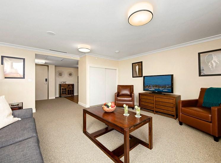 Living Room With Television at Meridian at Laguna Hills, California