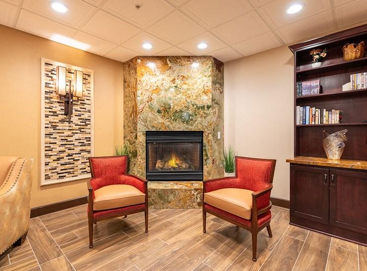 Sitting Area Near Fireplace at Healdsburg, A Pacifica Senior Living Community, Healdsburg, California