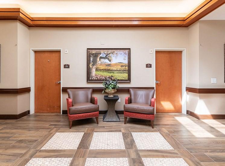 Chairs In The Hallway at Healdsburg, A Pacifica Senior Living Community, Healdsburg, CA, 95448