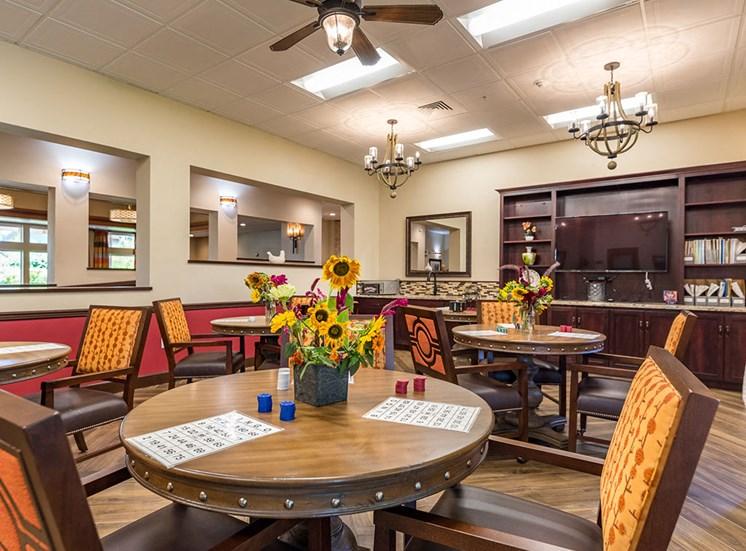 Game Room at Healdsburg, A Pacifica Senior Living Community, Healdsburg, California