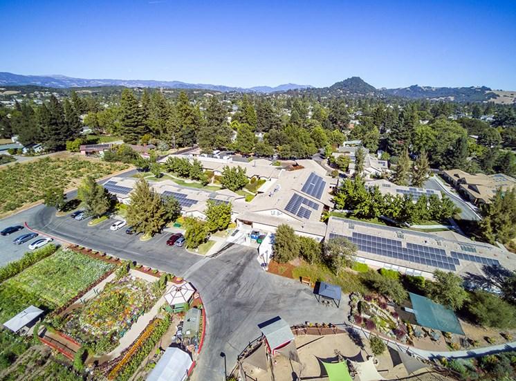Drone View Of Property at Healdsburg, A Pacifica Senior Living Community, Healdsburg, California