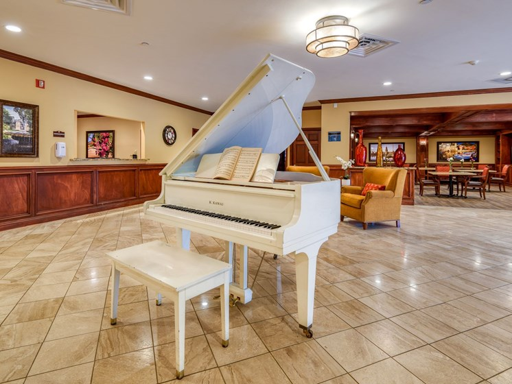 A stunning grand piano for our residents at Wyndham Lakes.