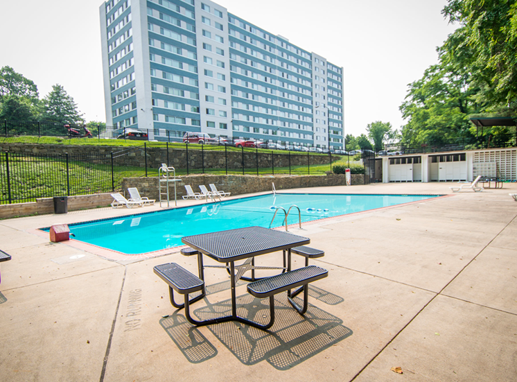 8600 Apartments Pool Area Tables