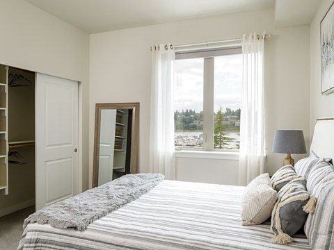 Bedroom with Closet at Harbor Heights, Washington