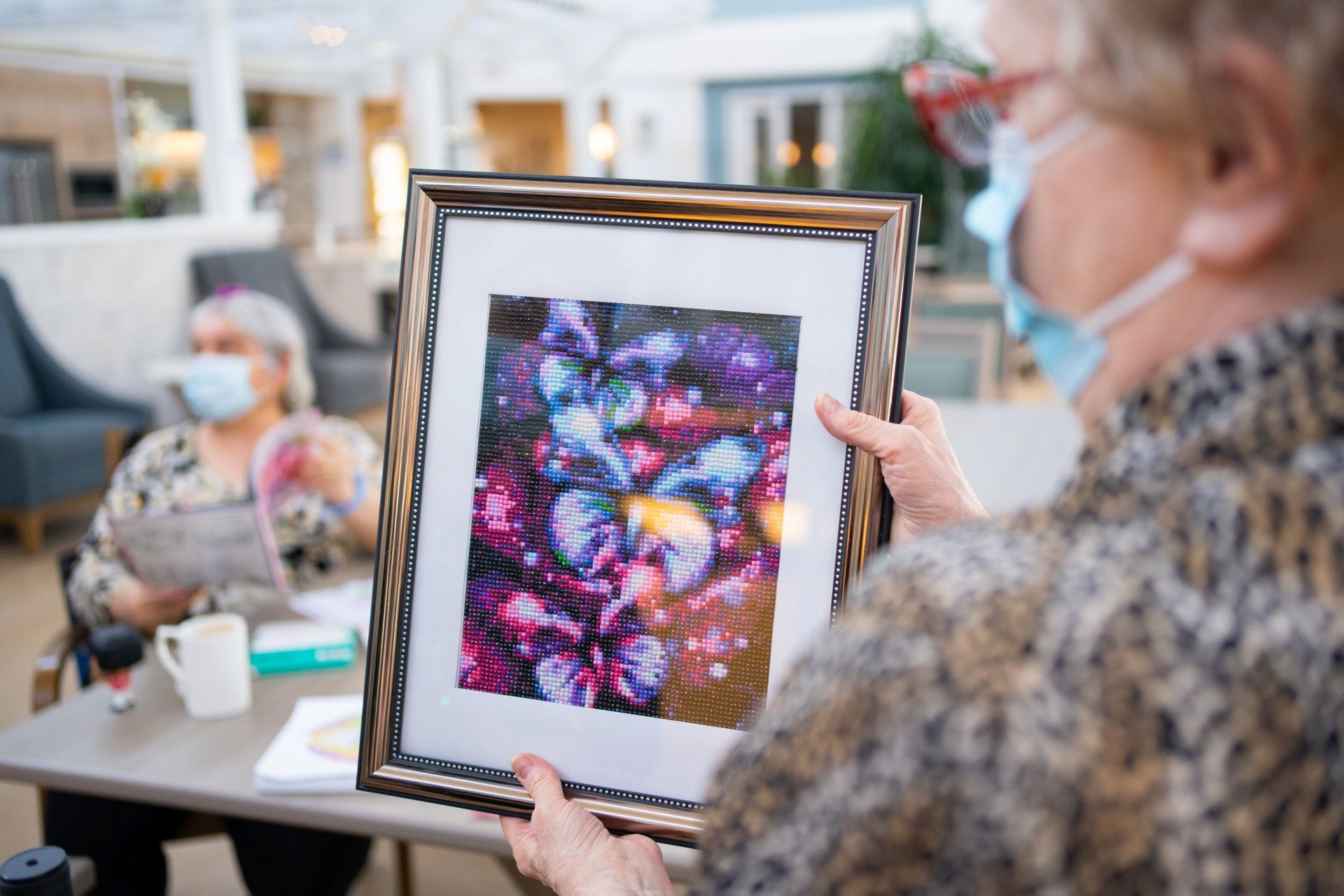 Resident-created artwork at Spruce community