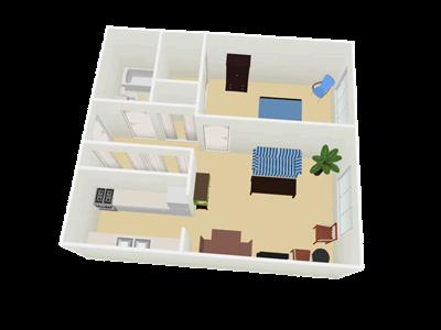 Boulevard 1 Bedroom Floorplan 3D