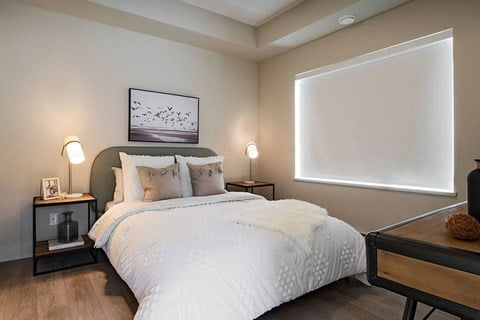 Inlet Glen Apartments in Port Moody, BC bedroom with custom roll up blinds