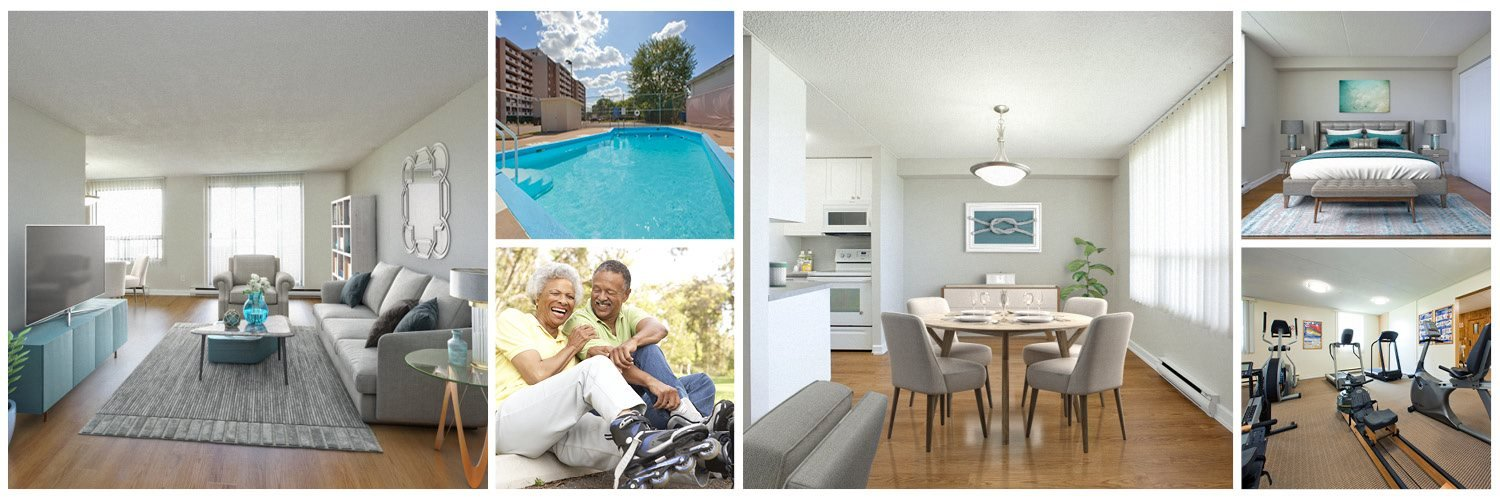 Collage of upgraded suite and amenities