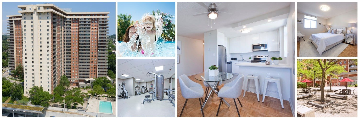 Collage of interior, exterior, and lifestyle images Cambridge Place in Scarborough, ON