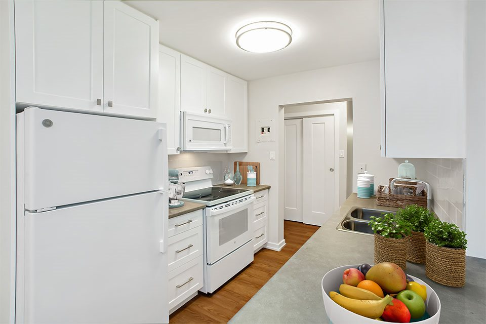 Chestnut Court kitchen with fridge, stove and dishwasher in St. Thomas, ON