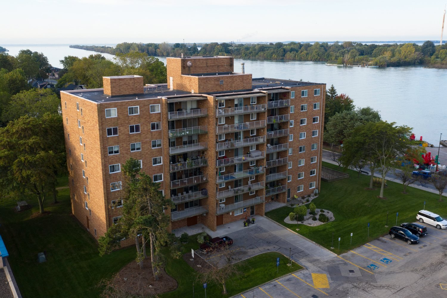 Dalhousie Place exterior image of building with view of the water in Amherstburg, ON