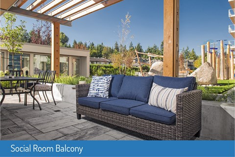 Inlet Glen Apartments Social Room Terrace featuring gazebo lounge seating in Port Moody, BC