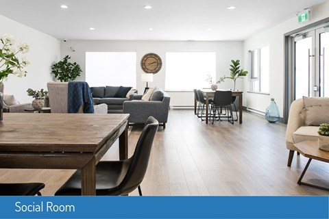 Inlet Glen Apartments Social Room featuring lounge seating in Port Moody, BC