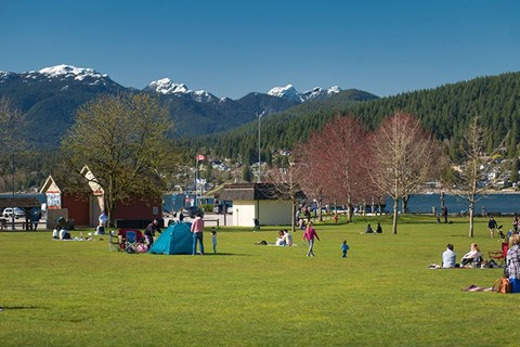 Inlet Glen Apartments in Port Moody, BC park with view of mountains