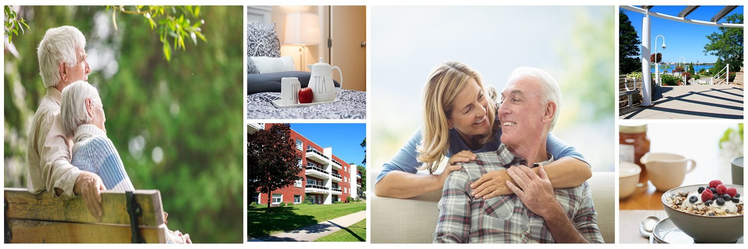 collage of stock and exterior images at Miller Apartments