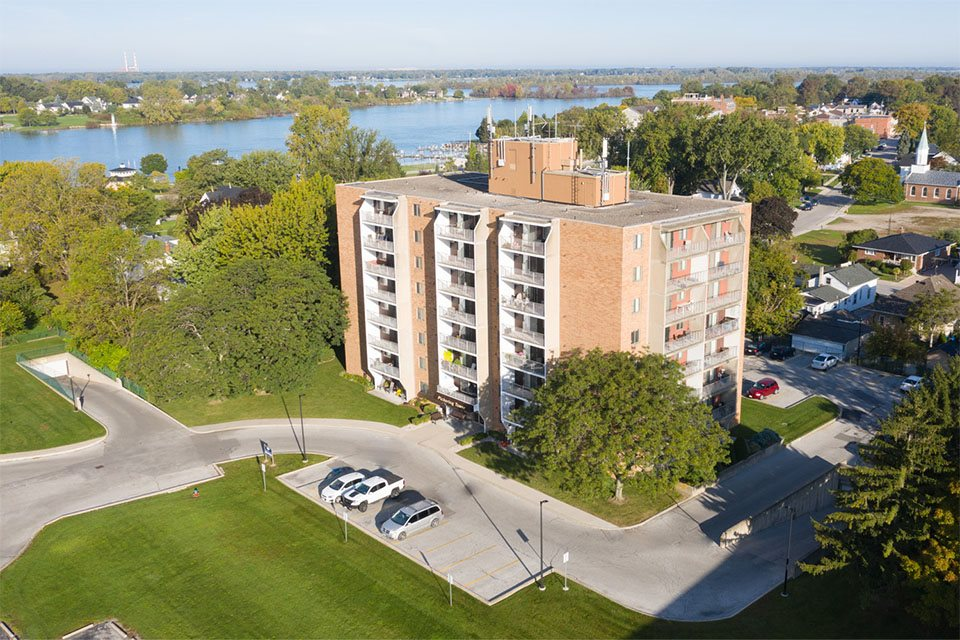 Exterior of building with lake views at Pickering Tower in Amherstburg, ON