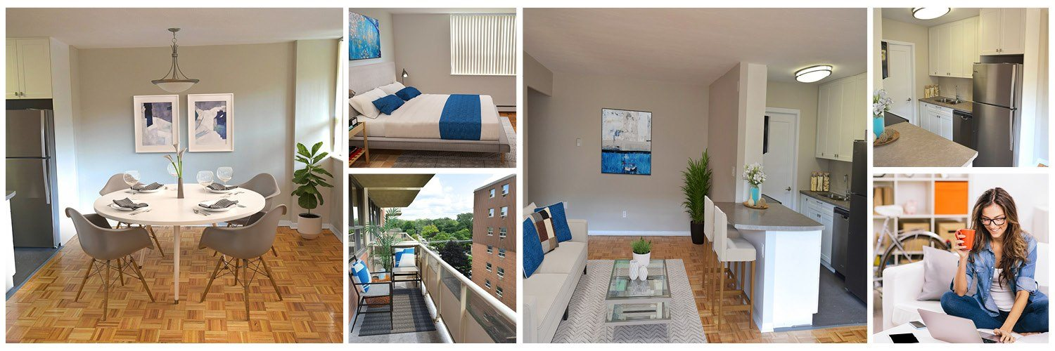 Collage of interior, exterior, and lifestyle images at Somerset Place in London, ON