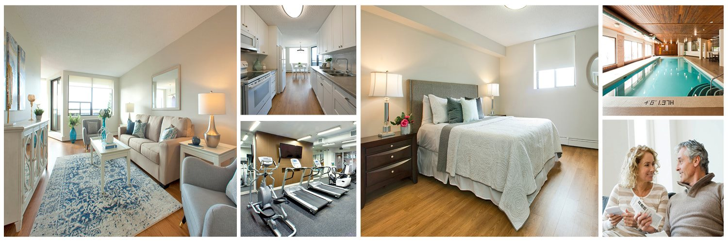 Collage of photos including in-suite, amenities and stock images