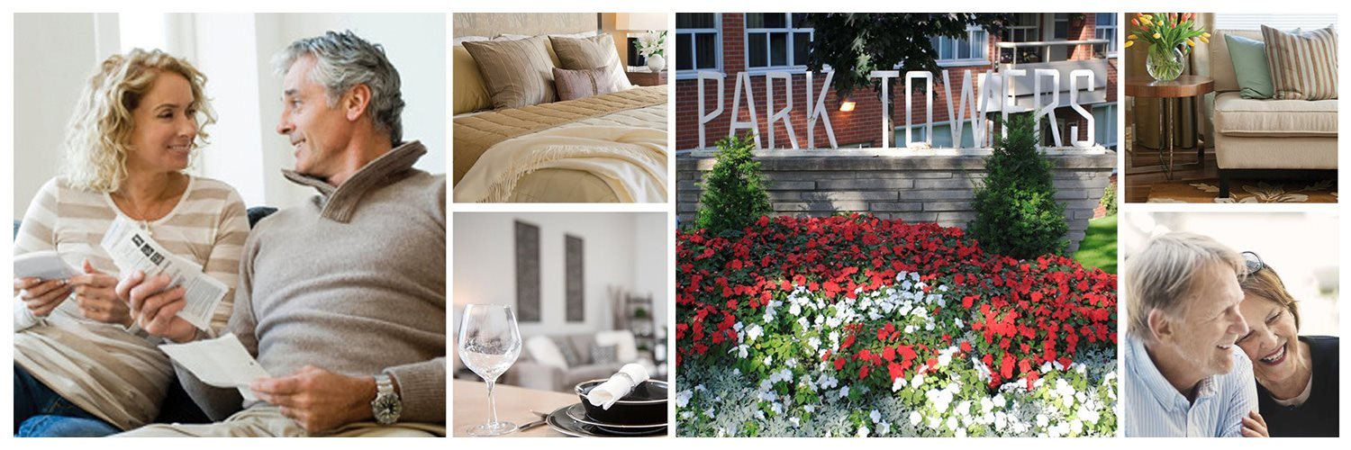 Collage of interior, exterior, and lifestyle images at Park Towers Apartments in London, ON