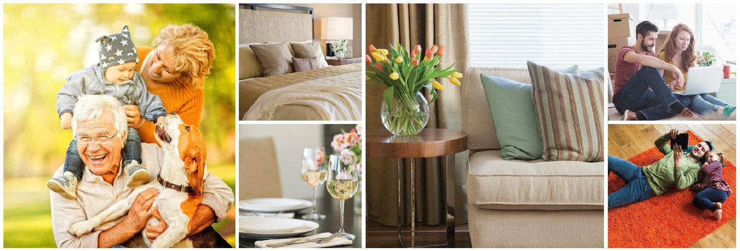 Collage of interior, exterior, and lifestyle images at High Street Apartments in Fort Erie, ON