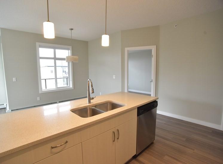 Aqua residential rental apartments quartz countertops