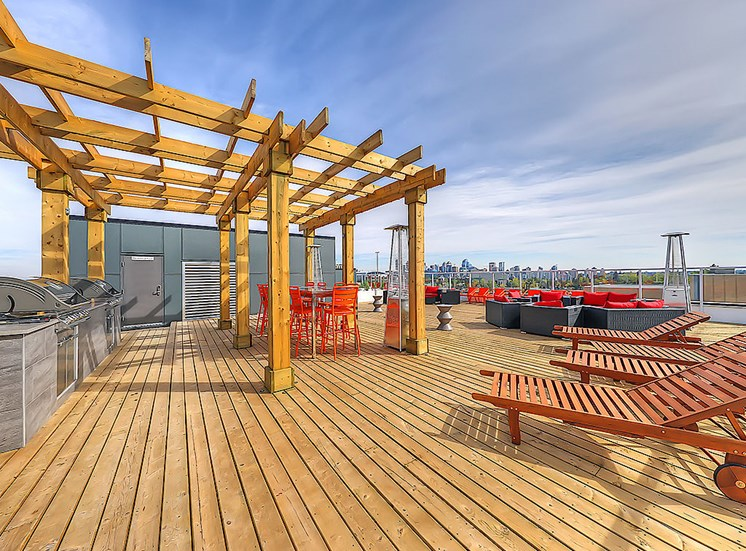 Sunny large rooftop patio