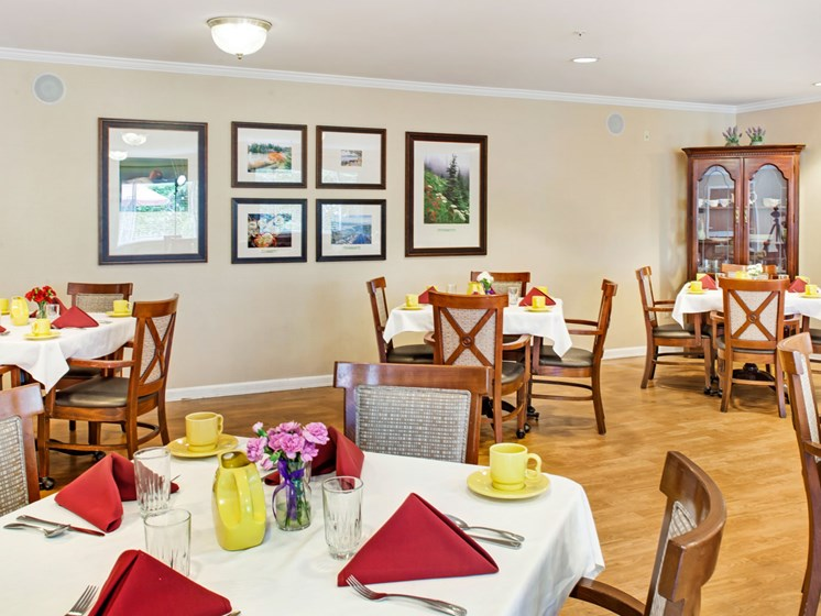 Dining Room at Cogir of Northgate Memory Care, Seattle, Washington