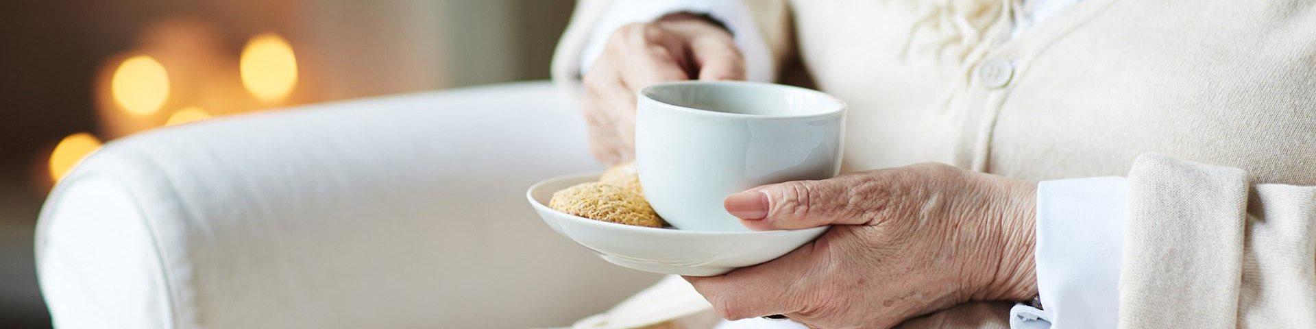 Senior Having A Coffee at Cogir of Northgate, Washington