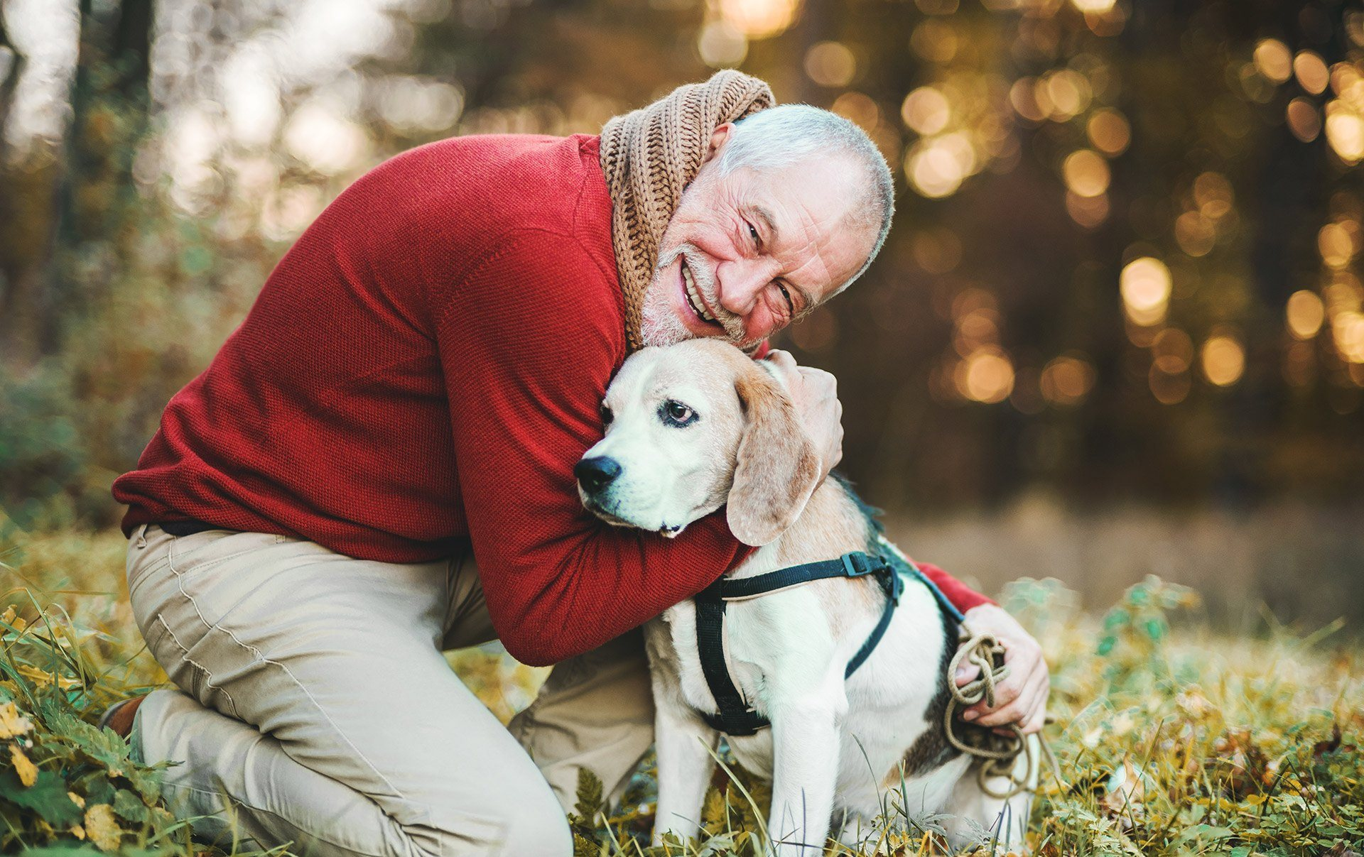 Happy Resident with Dog at Cogir of Vacaville, Vacaville, CA, 95687