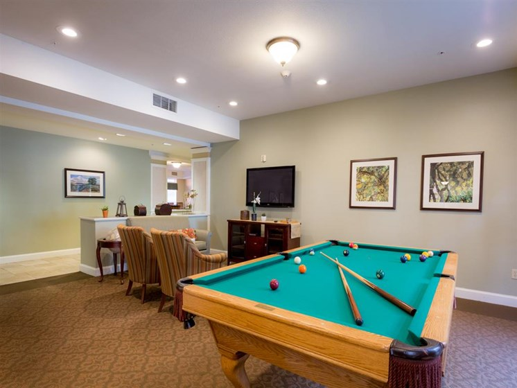 Billiards Table In Clubhouse at Cogir of Stock Ranch, Citrus Heights, 95621