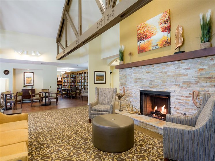 Clubroom With Fireplace at Cogir of Rohnert Park, Rohnert Park, CA, 94928