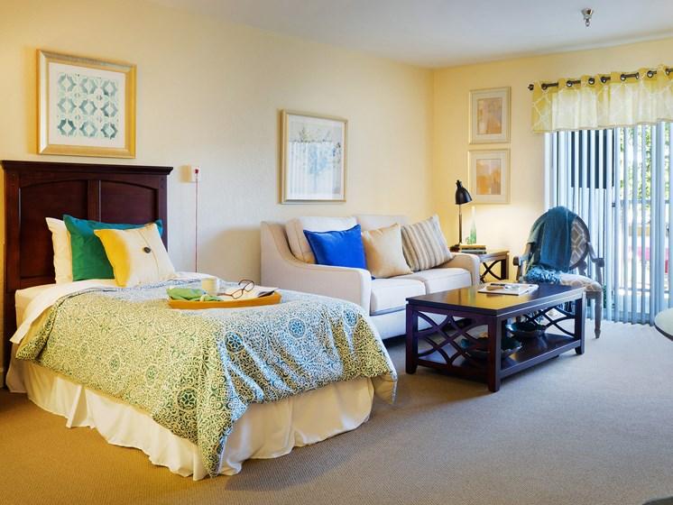 Bedroom decor at Cogir of San Rafael Memory Care, California, 94903