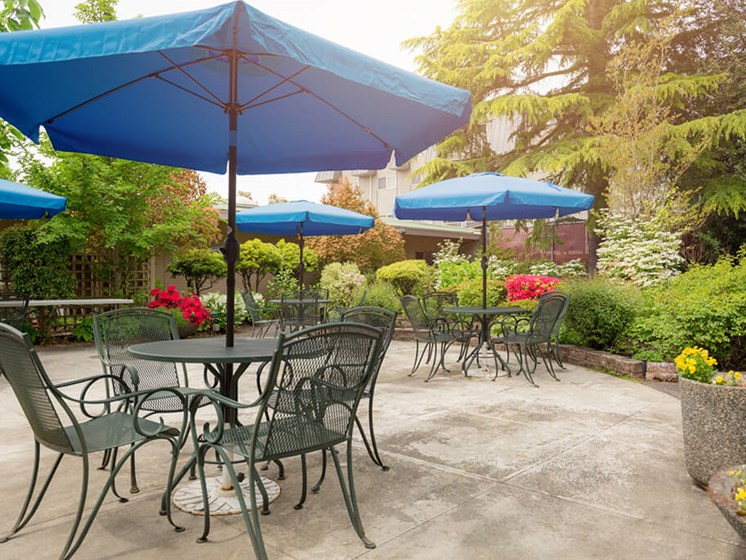 Shaded Lounge Area By Pool at Cogir of Northgate, Seattle, Washington