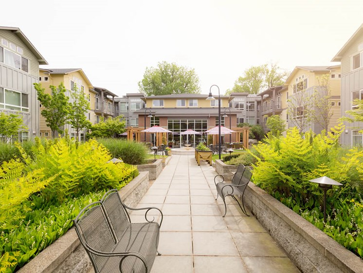 Courtyard Garden Space at Cogir of Queen Anne, Seattle, Washington