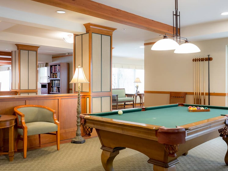 Billiards Table In Clubhouse at Cogir of Queen Anne, Washington