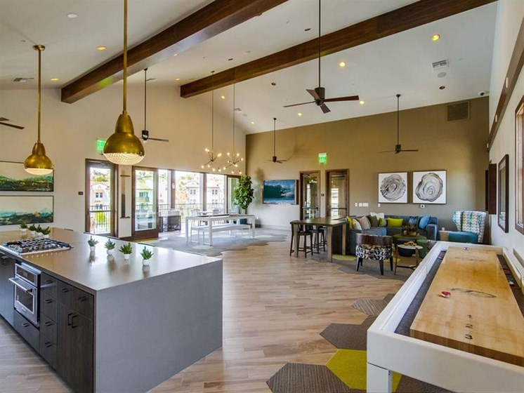 Shuffleboard In Clubhouse At The Club At Enclave Apartments In Chula Vista, CA